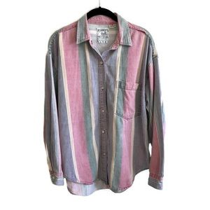 Vintage Andrews Blue chambray striped button down
